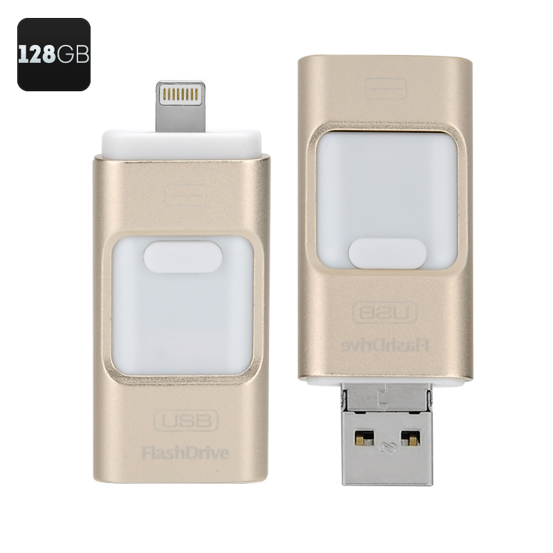 Wholesale 128GB OTG USB Flash Drive for iOS, Android and Windows - Gold