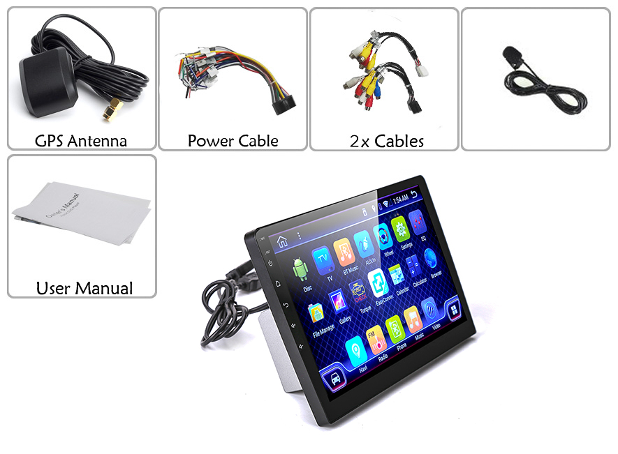 1 DIN Android Car Media Player with 10.1 Inch Touch Screen, GPS, Bluetooth, 3G, Quad-Core CPU