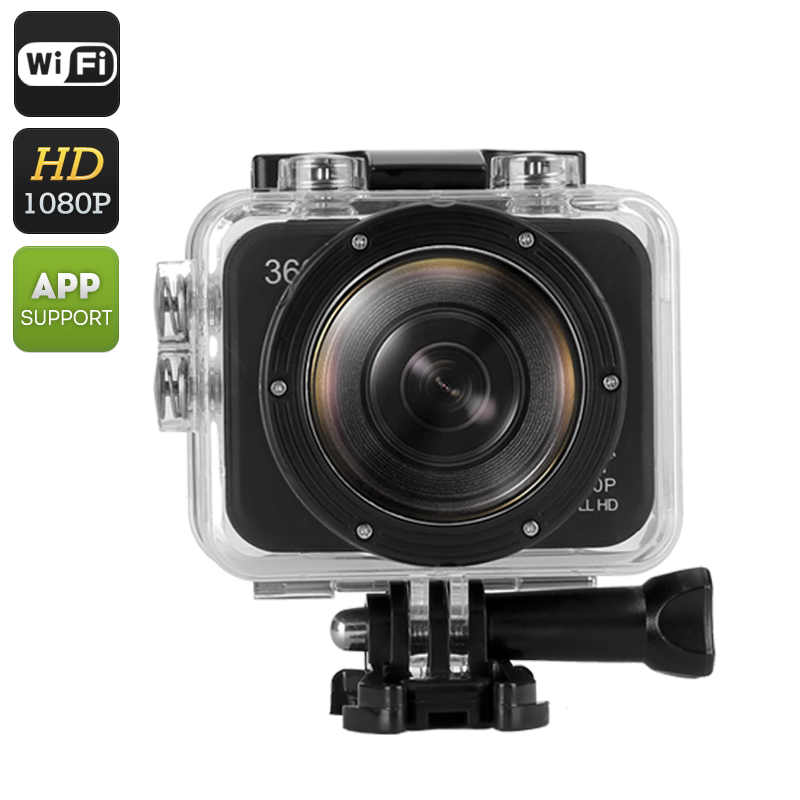 Wholesale 360 Degree Panoramic Action Camera (30m Waterproof Case, 1080P, 180 Degree Fish Eye Lens, 6 Shooting Modes, WiFi, Mobile)