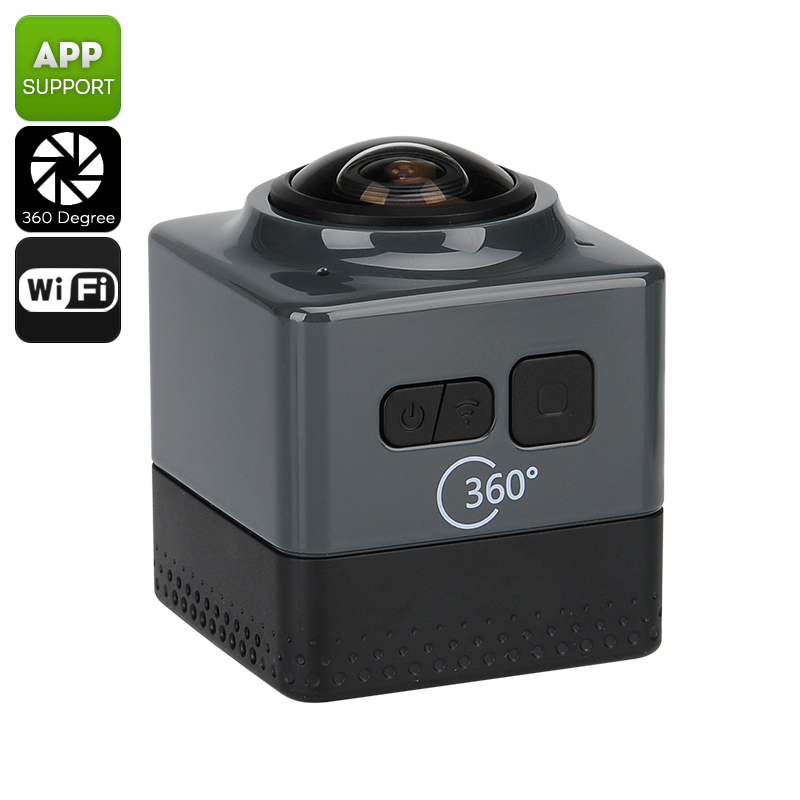 Wholesale 360 Degree Wi-Fi Action Camera (1280x1024, 1/4 Inch 1MP CMOS, Black)