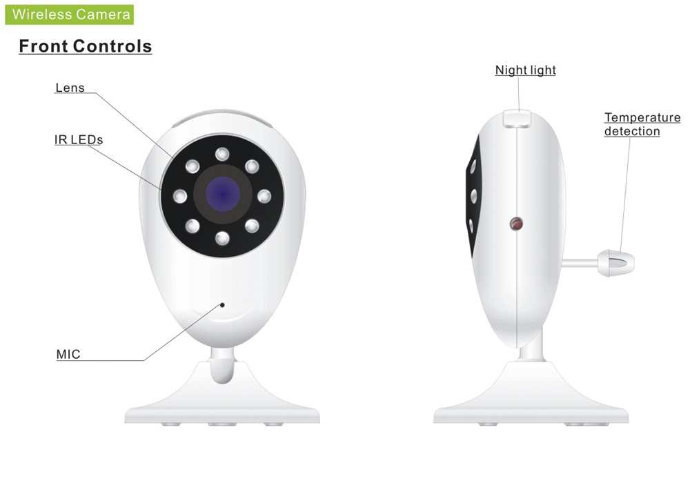 VOX Two Way Audio 3MP Wireless Baby Monitor (2.4 Inch LCD, 100 Meter Range, Night Vision, Temperature Detection)