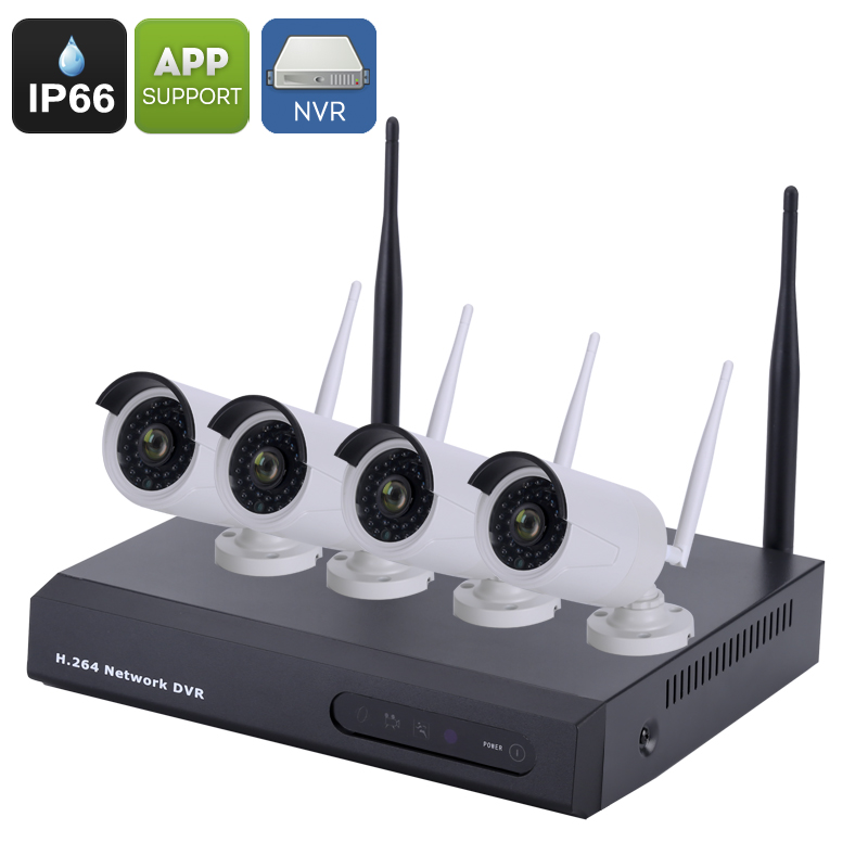 Wholesale 4 Channel Wireless NVR Kit with IP66 Waterproof 720p IP Camera (1/4 Inch CMOS, ONVIF 2.0, iOS + Android APP)