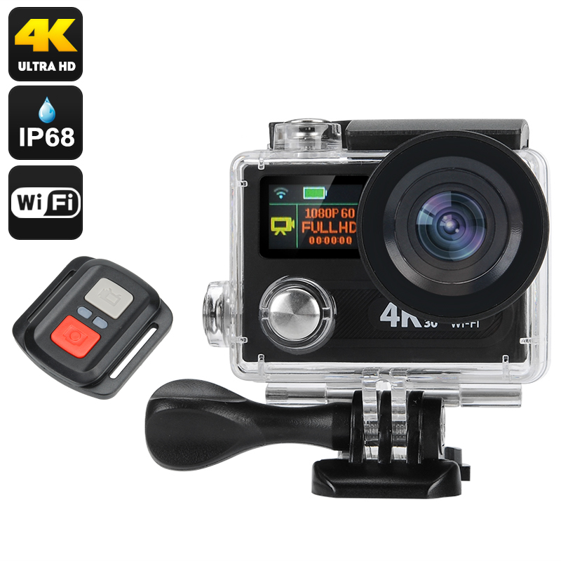 Wholesale 4K Ultra HD Action Camera W/ IP68 Waterproof Case (12MP, Wi-Fi, Wide Angle, Remote, Dual Display, Black)