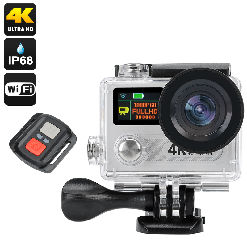 Wholesale 4K Ultra HD Action Camera W/ IP68 Waterproof Case (12MP, Wi-Fi, Wide Angle, Remote, Dual Display, Silver)