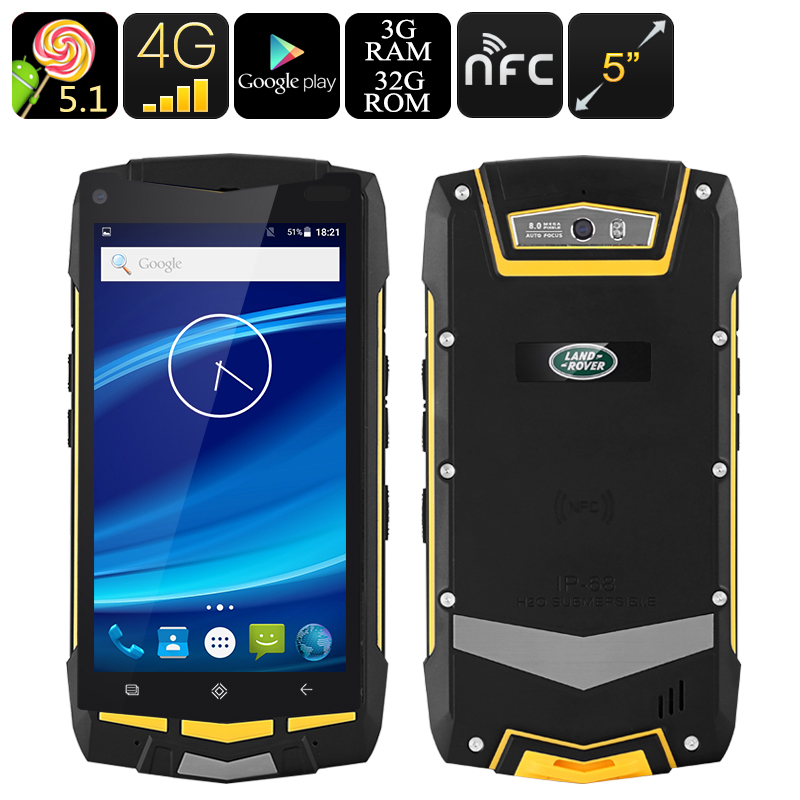 Wholesale 5 Inch NFC 4G Rugged Android Smartphone (IP67 Waterproof, 3GB RAM, Dual IMEI, 4300mAh, 32GB)