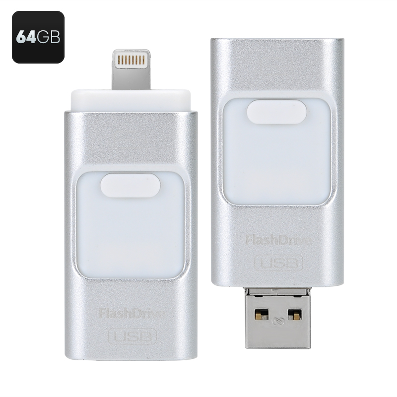 Wholesale 64GB OTG USB Flash Drive with iOS, Micro USB and USB 2.0 Ports - Silver
