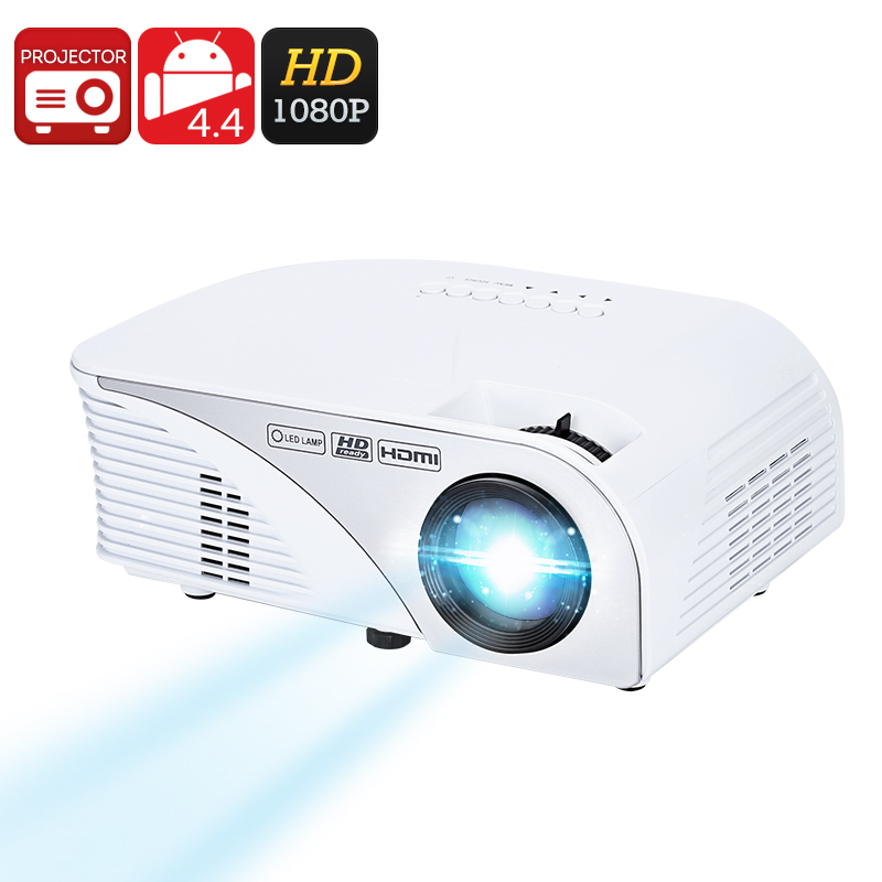 Wholesale 1080p Android Mini Projector (1200 Lumen, 1500: 1, Quad-Core CPU, 4 Inches LCD, Kodi)