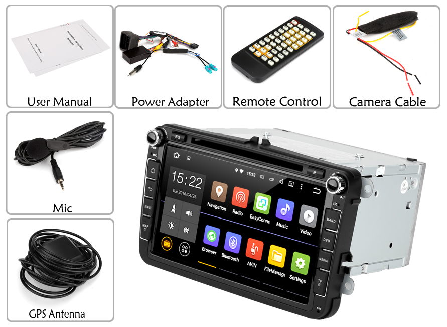 8 Inch Touchscreen Android 5.1 Car DVD Player (GPS, Quad Core CPU, Bluetooth, CAN Bus Decoder for VW + Skoda)