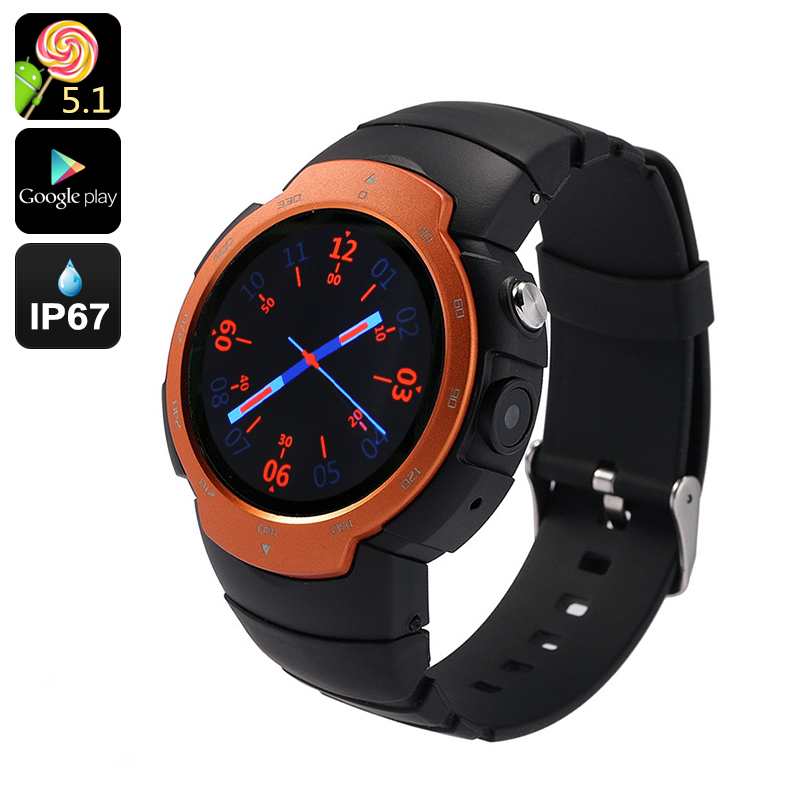 Wholesale Z9 - IP67 Waterproof 3G Android 5.1 Phone Watch with 1.33 Inch Screen, 5MP Camera, Heart Rate Monitor - Orange