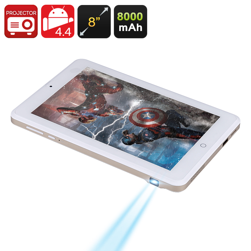 Wholesale 8 Inch Android Tablet + 1080p DLP Projector (1280x800, Quad Core CPU, 8000mAh, 16GB)