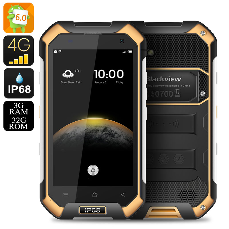Wholesale Blackview BV6000 IP68 Rugged NFC Android Smartphone (4G Dual SIM, 2GHz Octa Core CPU, 3GB RAM, 32GB, Orange)