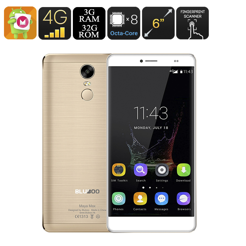 Wholesale Bluboo Maya Max 6 Inch Android 6.0 Smartphone (4G, OTG, Smart Wake, Fingerprint, Octa-Core CPU, 3GB RAM, 32GB, Gold)