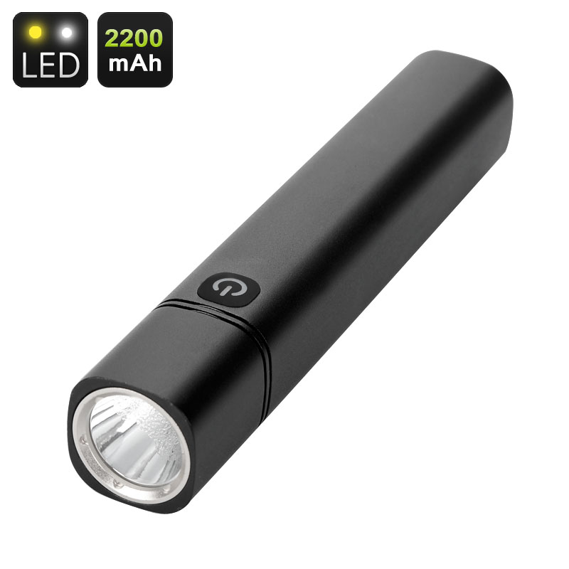 Wholesale CREE LED Flashlight + USB Powerbank (350 Lumen, 7000K White Light, 2200mAh, Back Lit Button)