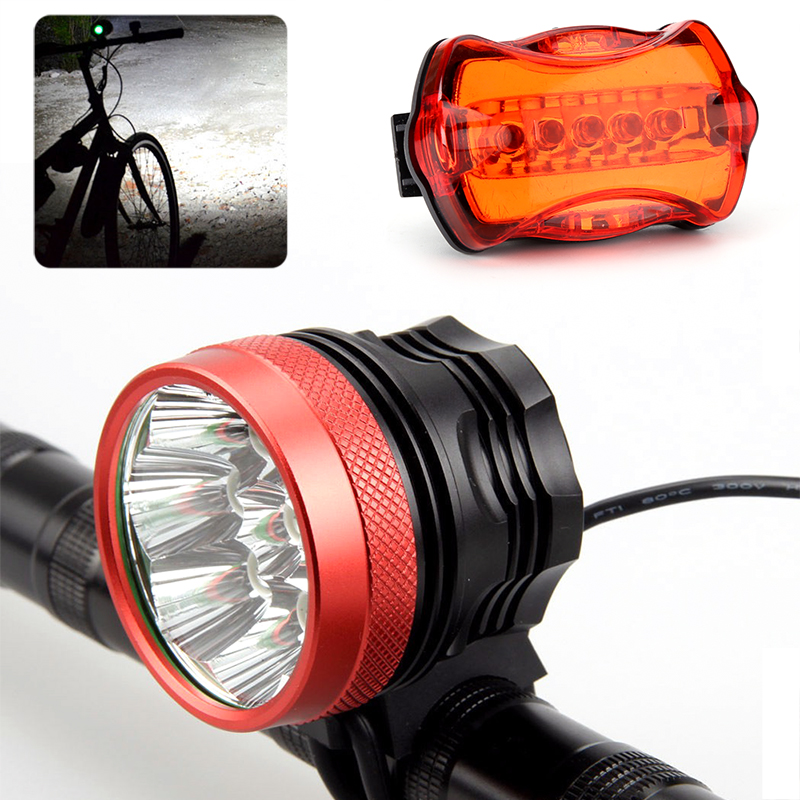 Wholesale 15000 Lumen Bike LED Headlight + Taillight (9 CREE XM-L T6 White LED, Head Strap, Rechargeable, 12000mAh)