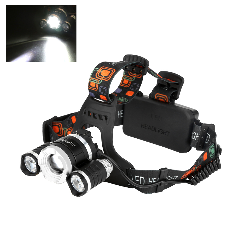 Wholesale CREE XM-L T6 LED Headlamp (2400 Lumen, 3 Cree LEDs, Zoom, Rechargeable)