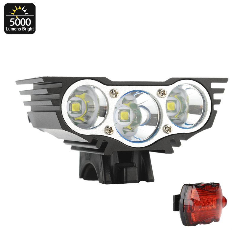 Wholesale RoadRunner II - CREE XM-L U2 LED 5000 Lumen Bike Front Light + Rear Light - Rechargeable 4800mAh
