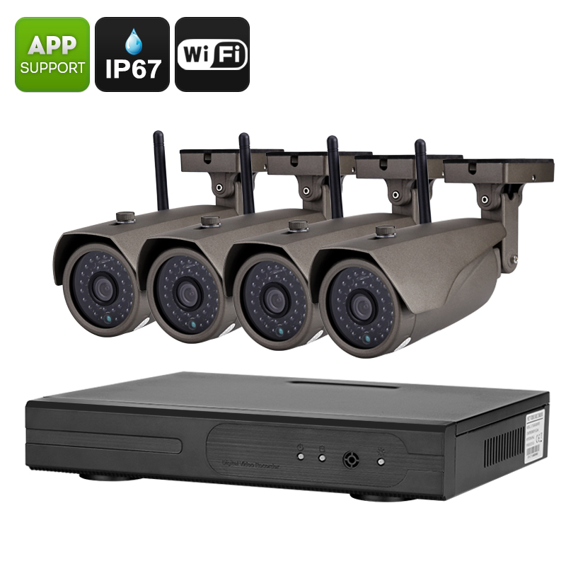 Wholesale Camnoopy NVR Kit with Four 720P Waterproof Cameras (Night Vision, IR Cut, 1/4 Inch CMOS, Phone Remote Access)