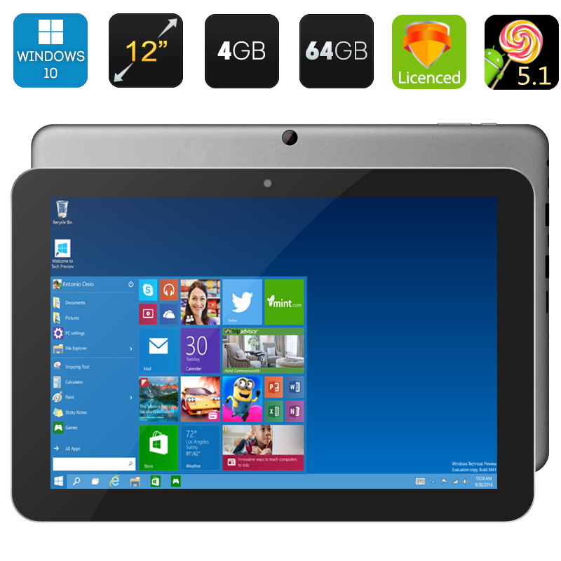 Wholesale Chuwi Hi12 12 Inch Tablet PC with 11000mAh Battery (Windows 10 + Android 5.1, 4GB RAM, 3D Game, 64GB, Gray)