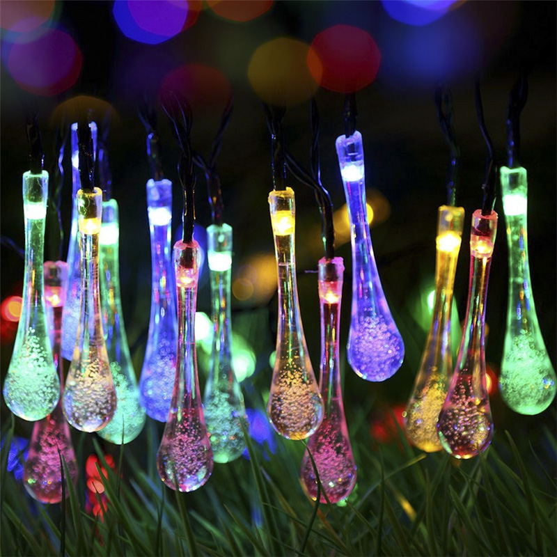 Wholesale Waterdrop Shaped Colorful Solar LED Light String Decoration for Garden, Terrace, House and Bar