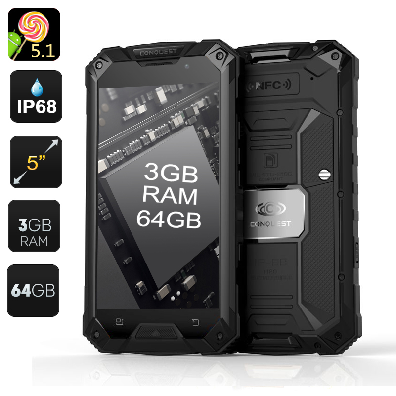 Conquest S6 Pro Rugged 4g Android Phone 6000mah Bank Ip68 Waterproof 3gb Ram 5 Inch Octa Core 64gb Black Tafl M901 Us 437 06