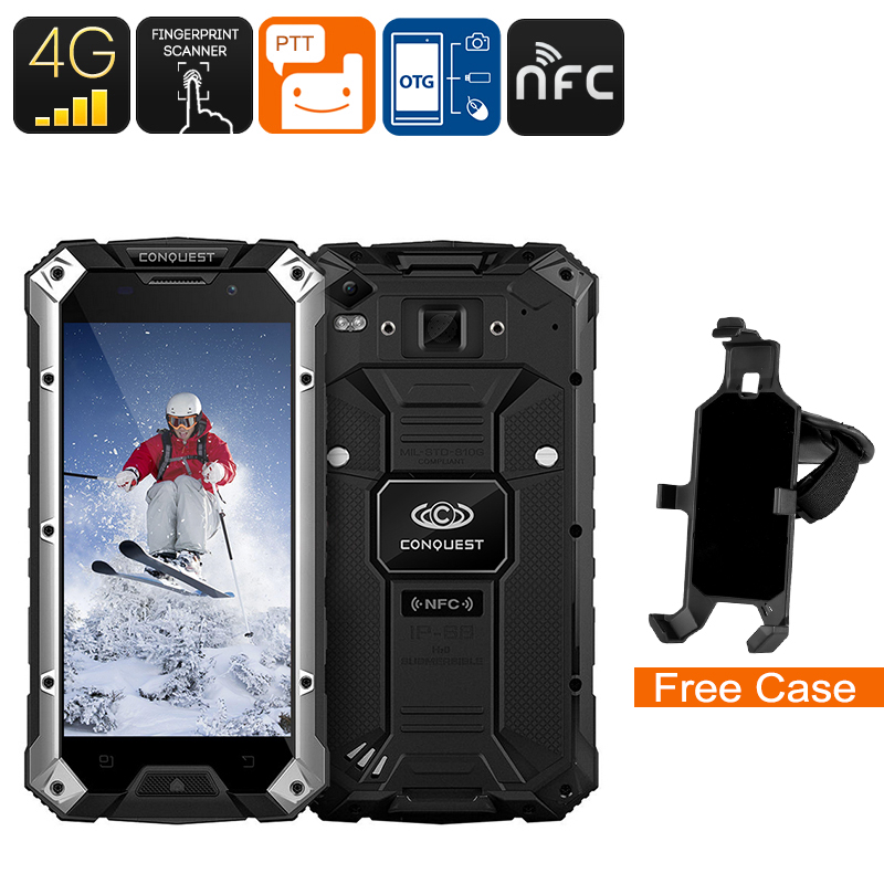 Wholesale Conquest S6FP 5 Inch Waterproof Android Phone (IP68 Rugged, 3GB RAM, NFC, Quad-Core CPU, 32GB, Black + Silver)