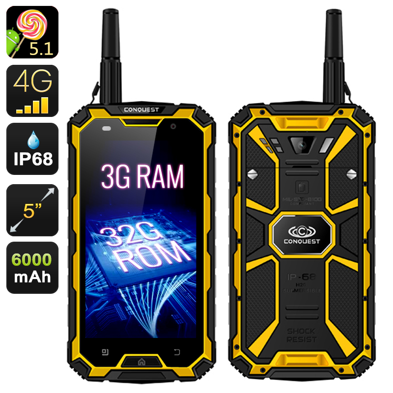 Wholesale Conquest S8 Pro Outdoor Smartphone + Walkie-Talkie (4G, 3GB RAM,
