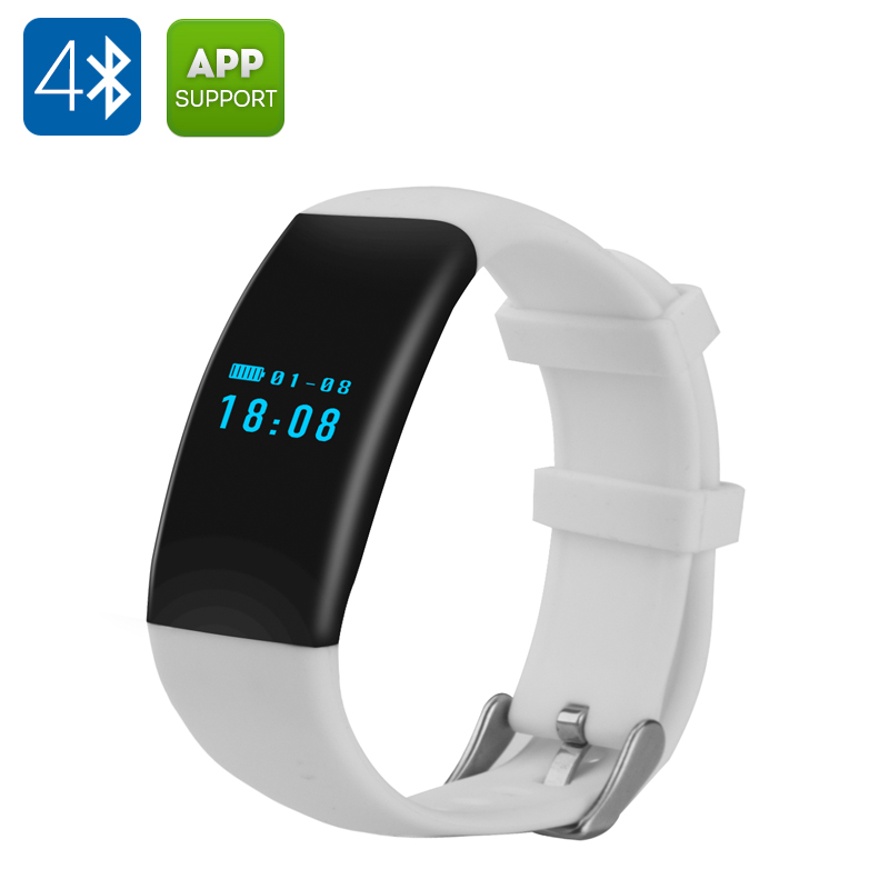 Wholesale DFit Sports Smart Bracelet Wristband for Android/iOS (IP66 Waterproof, Bluetooth 4.0, White)