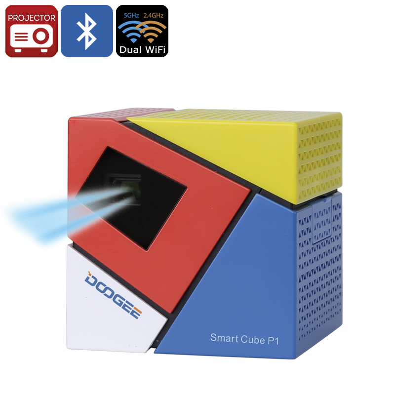 Wholesale DOOGEE Smart Cube P1 Android DLP Projector (RK3128 CPU, 120 Inch Image, 70 Lumen, Dual Band Wi-Fi, Bluetooth)