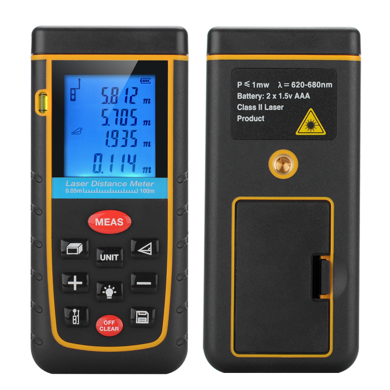 Wholesale Digital Laser Tape Measure Tool with Spirit Level (IP54 Waterproof, 1/4 Inch Tripod Thread, 100 Meter Range)