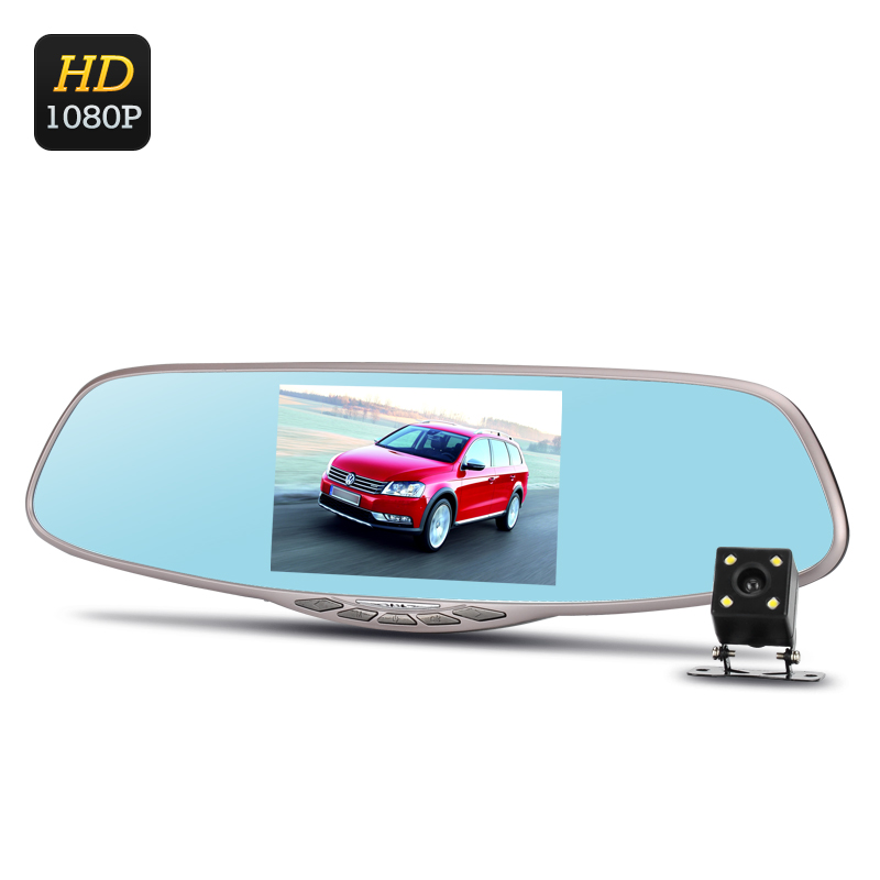 Wholesale Dual Camera Rearview Mirror Car DVR (Full HD, Motion Detection, 12MP 1/4 Inch CMOS, Loop Recording, 5 Inch Screen)