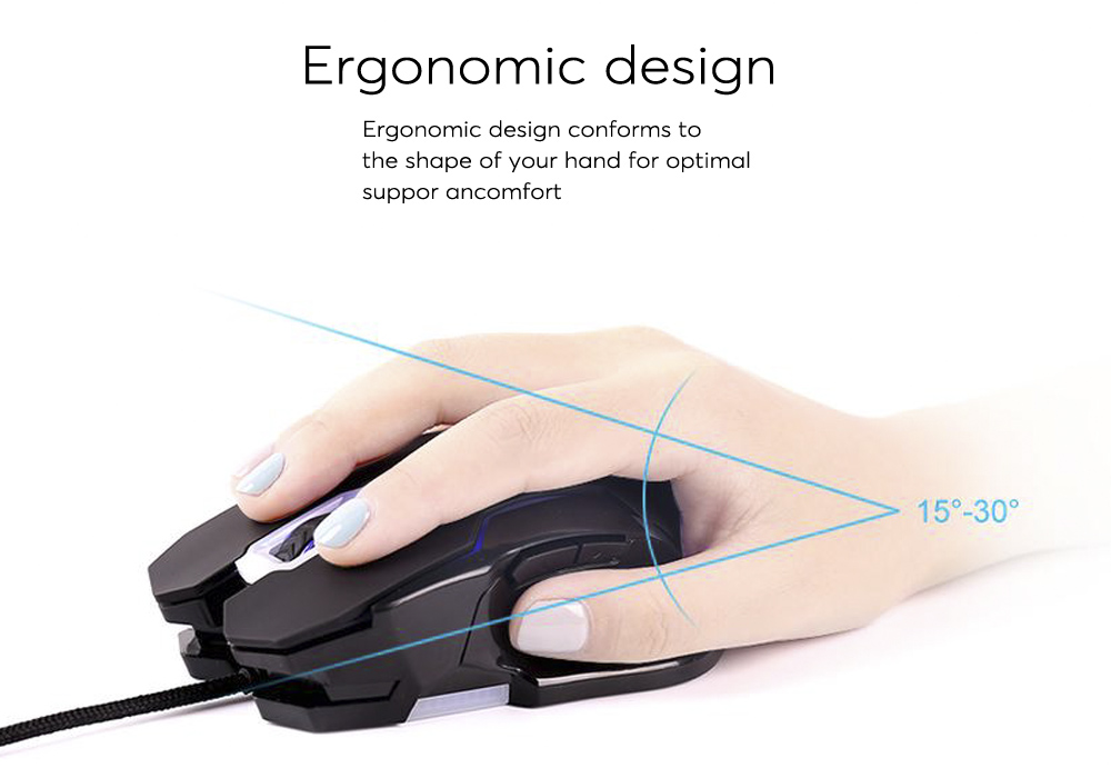 ELE USB Wired Optical Gaming Mouse 6D with Adjustable DPI (7 Color LED Backlight, DPI, High Performance Sensor, Plug and Play)