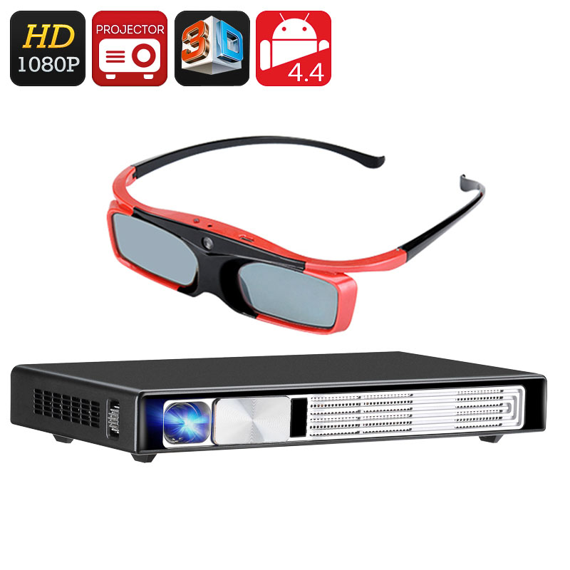 Wholesale Full HD 3D DLP Android Projector + 3D Glasses (Bluetooth 4.0, Wi-Fi, HDMI, VGA, Airplay, Miracast, DLNA)