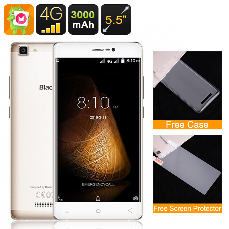 Wholesale Blackview A8 Max 5.5 Inch Android Smartphone (4G, Dual IMEI, 2G RAM, Quad-Core CPU, 16GB, Gold)