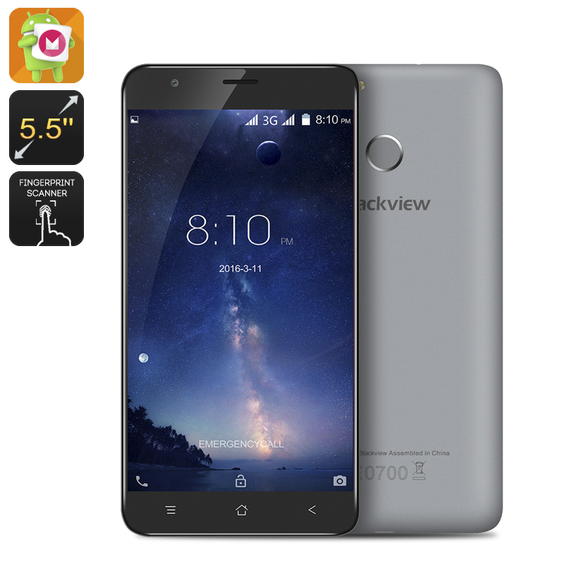Wholesale Blackview E7S 5.5 Inch Android 6.0 Smartphone (Quad Core CPU, 2GB RAM, Fingerprint, 16GB, Grey)