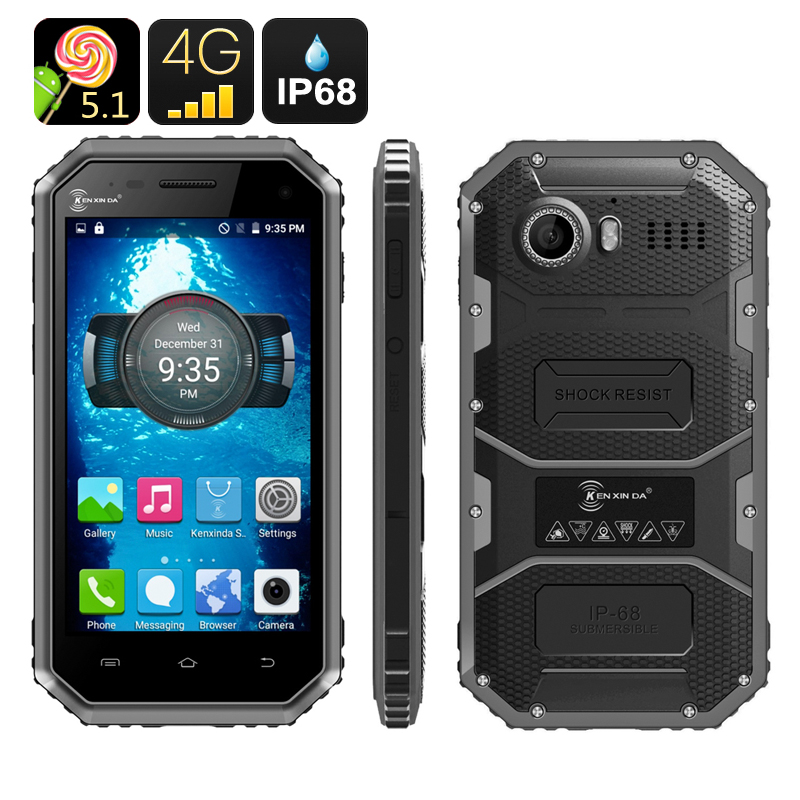 Wholesale Ken Xin Da W6 4.5 Inch Dual SIM 4G Rugged Android Phone (IP68 Waterproof Dustproof Shockproof, Quad Core CPU, Black)