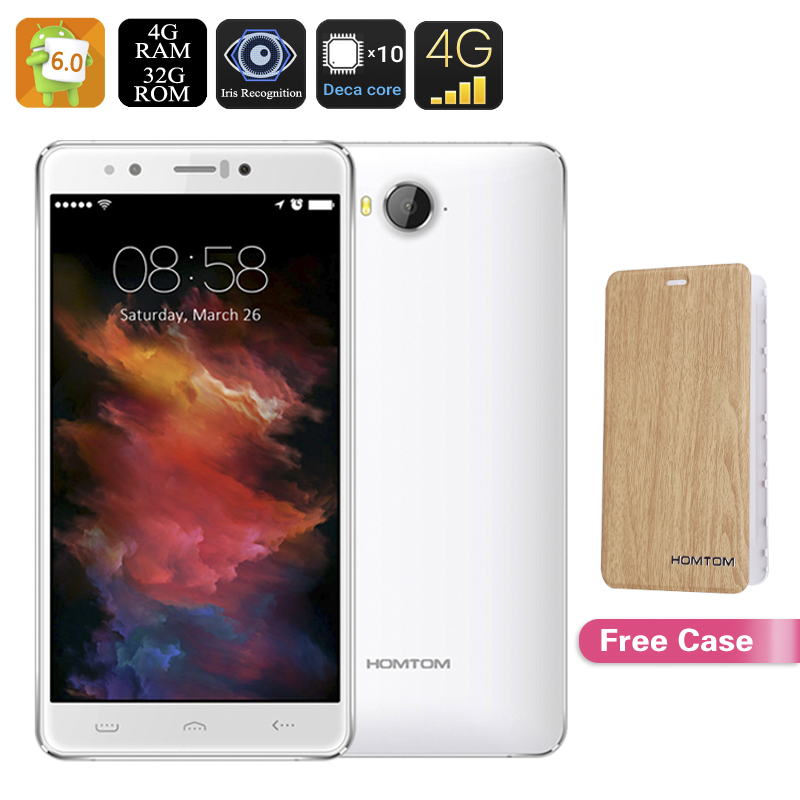 Wholesale HOMTOM HT10 Android Smartphone (21MP Camera, Iris Recognition, 4G Dual-SIM, T720 GPU, Deca-Core CPU, 4GB RAM, White)