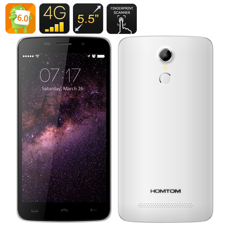 Wholesale HOMTOM HT17 Android 6.0 Smartphone (5.5 Inch, Quad Core CPU, 4G, HotKnot, Fingerprint Scanner, White)