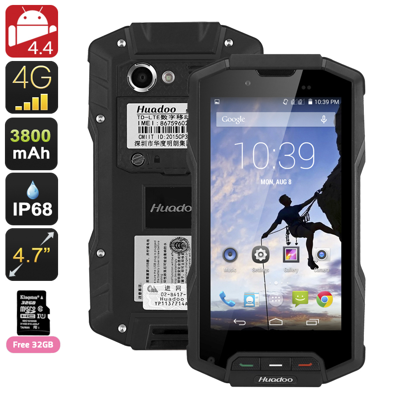 Wholesale Huadoo HG04 Dual SIM 4G Rugged Smartphone (IP68 Waterproof, 4.7