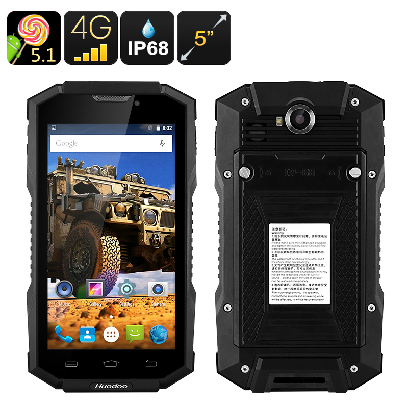 Wholesale Huadoo HG06 5 Inch HD Rugged 4G Android Phone (IP68 Waterproof, 2 IMEI, 4500mAh, Quad-Core CPU, OTG, NFC, Black)