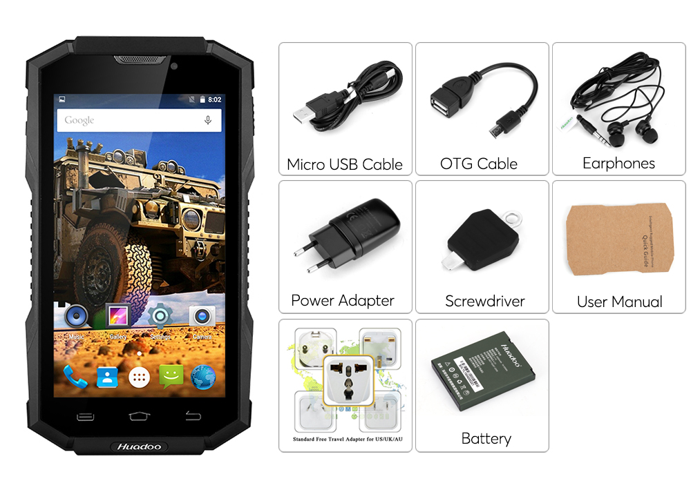 Huadoo Hg06 5 Inch Hd Rugged 4g Android Phone Ip68