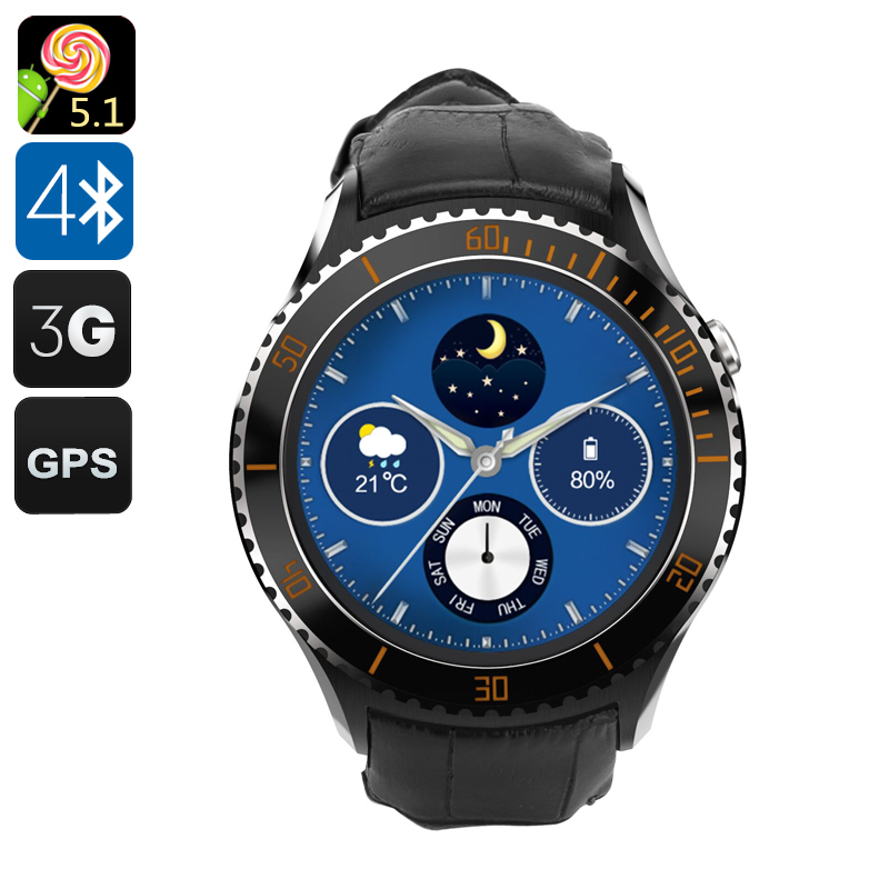 Wholesale IQI I2 Android 5.1 Smart Watch with 1.33 Inch Circular Screen (Pedometer, Heart Rate Monitor, GPS, Black)