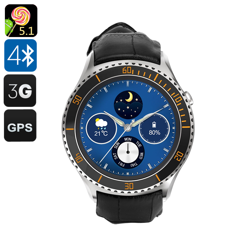Wholesale IQI I2 Android 5.1 Smart Watch with 1.33 Inch Circular Screen (Pedometer, Heart Rate Monitor, GPS, Silver)
