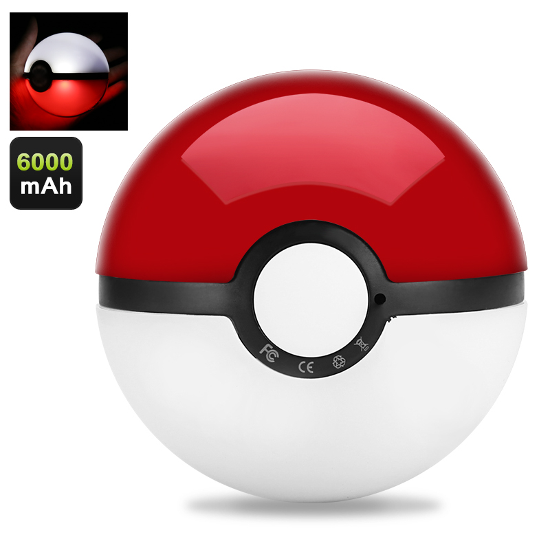 Wholesale Illuminating LED Pokeball Power Bank (6000mAh, LED Light)