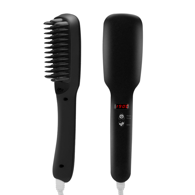 Wholesale Ionic Hair Straightener + Brush with Digital Temperature Display - Black