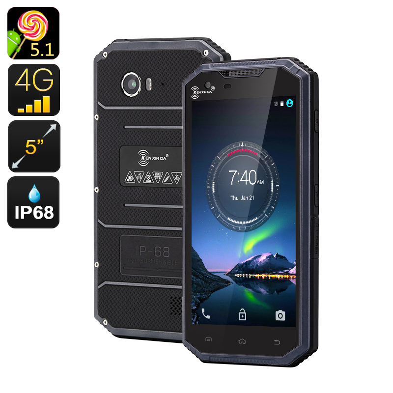 Wholesale KEN XIN DA PROOFINGS W7 5 Inch Rugged Android Phone (4G, Dual SIM, Quad-Core 64Bit CPU, IP68 Waterproof, 16GB, Grey)