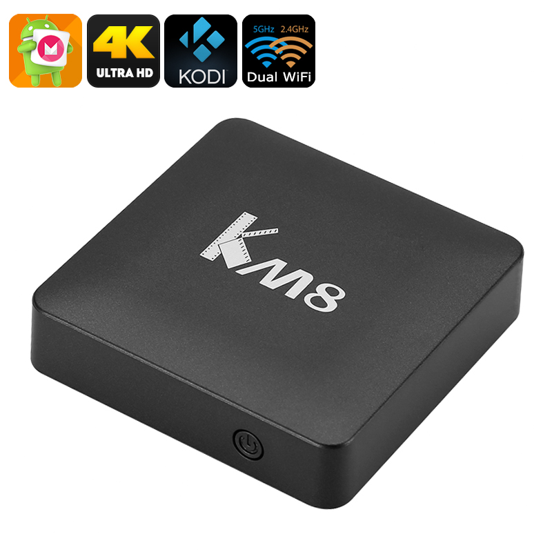 Wholesale KM8 4K Android 6.0 TV Box (Quad Core CPU, Bluetooth, 2GB RAM, Kodi 17.0, Dual Band Wi-Fi, 16GB)
