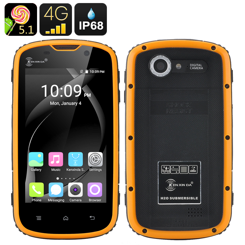 Wholesale Ken Xin Da 4 Inch Rugged Android 5.1 Phone (4G Dual SIM, IP68 Shockproof Waterproof Dustproof, Yellow)