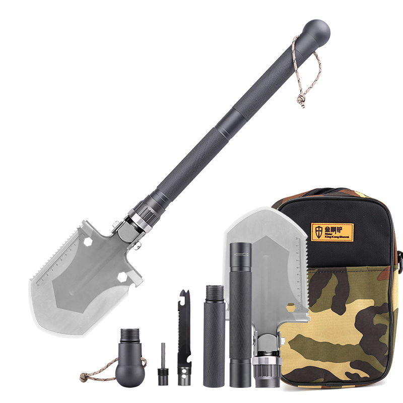 Wholesale King Kong Multi-tool Shovel with Hoe, Axe, Compass, Knife, Ferrocerium Rod, Case