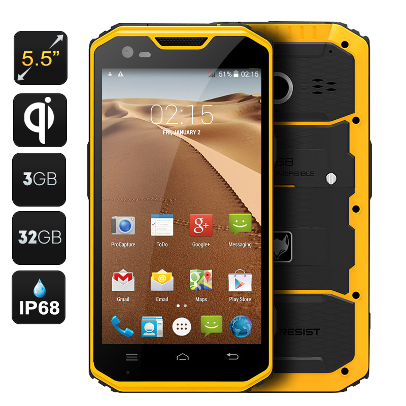 Wholesale MFOX A7W 5.5 Inch Rugged Android Phone with Wireless Charging (IP68 Waterproof, 4G, Octa Core CPU, 3GB RAM, GPS, 32GB)