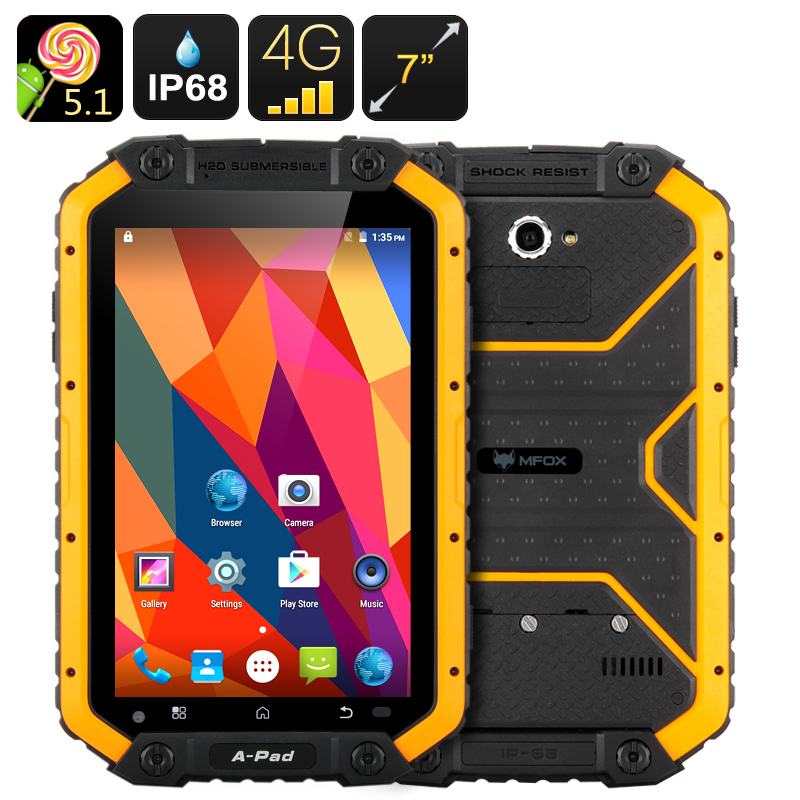 Wholesale MFOX APad Rugged Android Tablet PC + Dual SIM 4G Phone (IP68 Waterproof, 7 Inch, Octa Core CPU, NFC, 16GB)